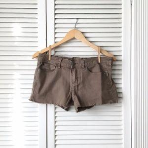 GAP 1969 Military Green Denim Cut Off Shorts